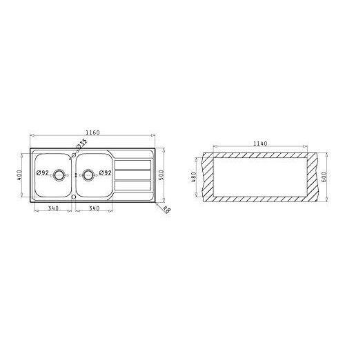 Pyramis 101041602 E29 /Évier encastrable en acier inoxydable poli