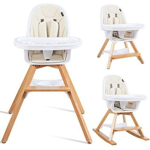 vidaXL Chaise Haute Convertible 3-en-1 avec Table Rose Chaise /à Manger B/éb/é
