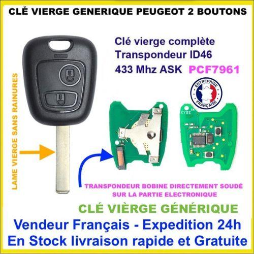 Clé avec électronique vierge à programmer PEUGEOT 206 306