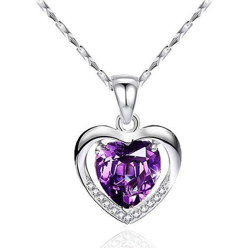 Collier pendentif en alliage argenté strass violet bijoux fantaisie neuf