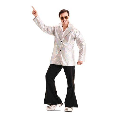 Déguisement Homme DISCO Bleu Argent XL Costume Adulte Année 1980 NEUF Pas cher