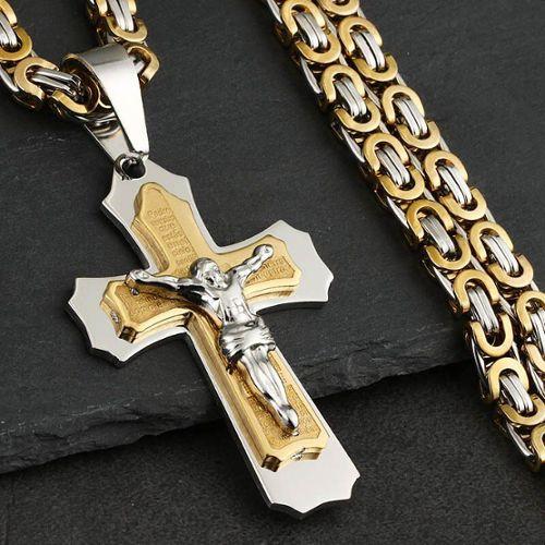 Pendentif CROIX Chrétienne dorée en Plaqué OR 750//000 NEUF CHAÎNE en OPTION