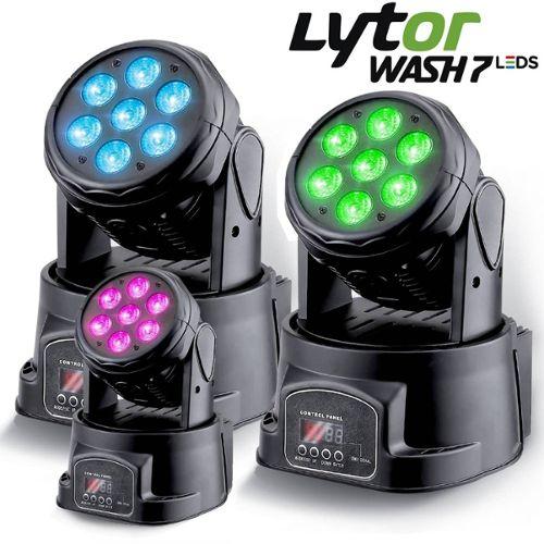 DMX lytor PACK 2 LYRES RVB PIXY-30 LED CREE 10W 7 couleurs Gobo Strobo
