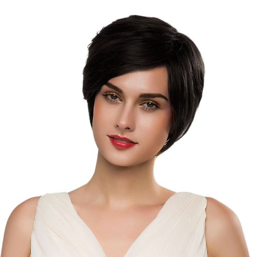 perruque femme noir naturel pas cher ou d'