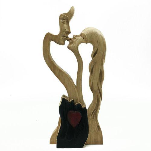 Coco Papaya Statue Abstraite Couple Amour Infini h30cm Bois Massif Brut