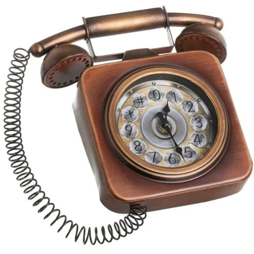 ANCIEN TELEPHONE FILAIRE  FEVE METAL DORE 3D N°6