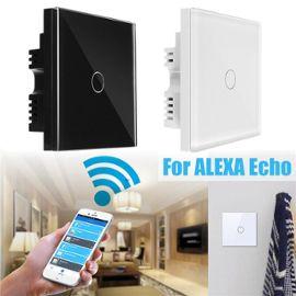 dernier style de 2019 Couleurs variées boutique officielle 1 Gang 1 Voies EU UK US Smart Télécommande Mur lumière Tactile Interrupteur  De Luxe Panneau Verre Cristal Pour WiFi Amazon Alexa