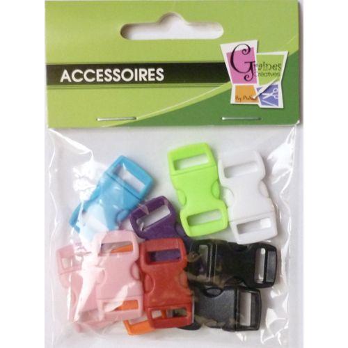 Fermoirs clips plastique Créacord 3 x 1,5cm Noir x10 idéal Créacord