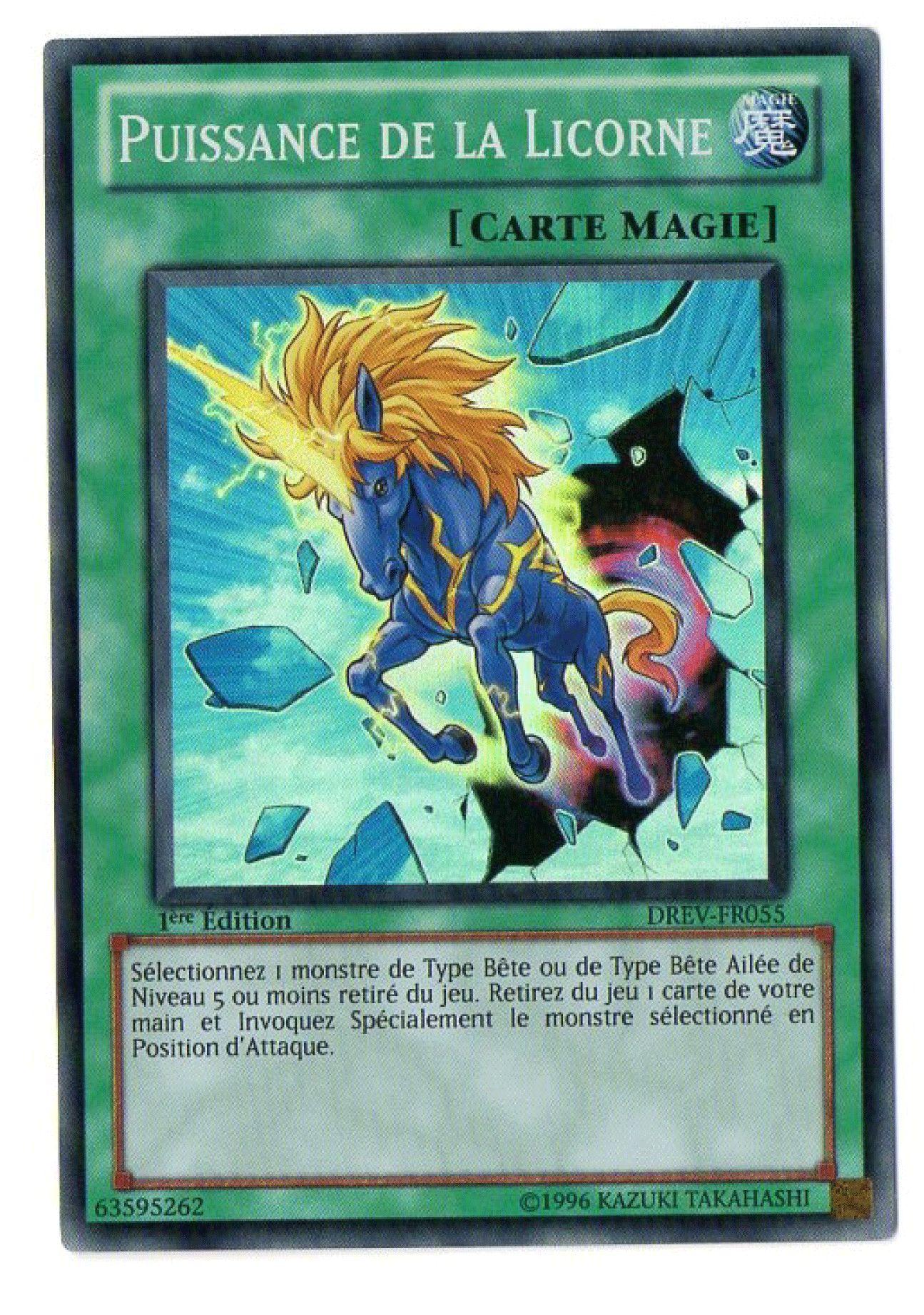 DREV-FR055 Puissance de la Licorne Super Rare Carte Yu-Gi-Oh 1ere Edition