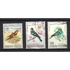 TUNISIE 1965 POSTE AERIENNE : Oiseaux : Sirli du désert / Pinson des arbres / Rollier - Série de 3 timbres oblitérés cote 7,30 ¿