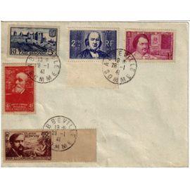 Lettre De 1941 Abbeville Somme Affranchie Avec Timbres de 1939 Yvt numéros 392 436 437 438 439 Cote 26,50 Euros  Rare