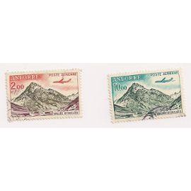 Andorre- Lot de 2 timbres oblitérés Poste Aérienne