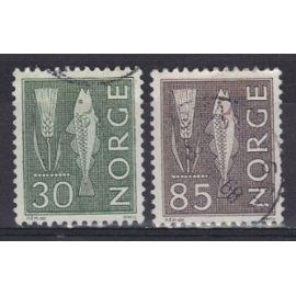 NORVEGE 1962 : Epi de seigle et morue - Série de 2 timbres oblitérés