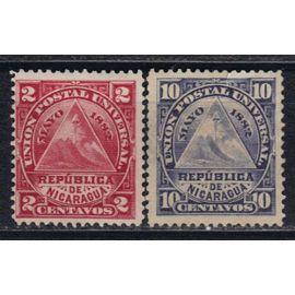 NICARAGUA 1882 : Armoiries : Union postal universal : Bonnet phrygien - Série de 2 timbres NEUFS *