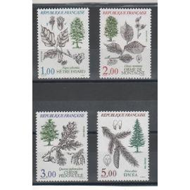 Flore et faune de France (III).Arbres de 1985 n° 2384 à 2387 Y & T