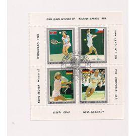 Corée - Bloc timbre Roland Garros 1986 et Wimbledon 1985 (4 timbres)