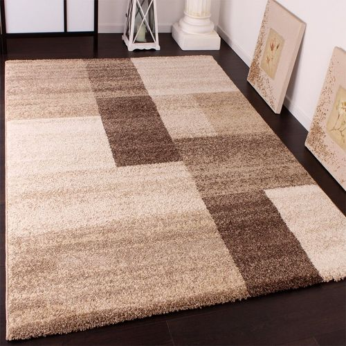tapis lourd tisse moderne design beige marron creme 60x110 cm