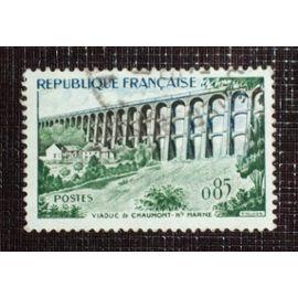 FRANCE N° 1240 oblitéré de 1960 - 85c vert, sépia et bleu « Viaduc de Chaumont »