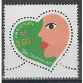 Saint-Valentin.Coeurs 2000 du couturier Yves Saint Laurent . Année 2000 n° 3296  Yvert & Tellier