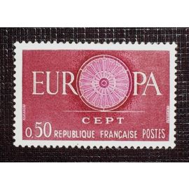 FRANCE N° 1267 neuf avec charnière ou trace de 1960 - 50c carmin et lilas « Europa »