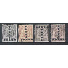 tunisie, 1888-1898, timbres-taxe, armoiries (perforés en t), n°9 + 10 + 12 + 16, oblitérés.