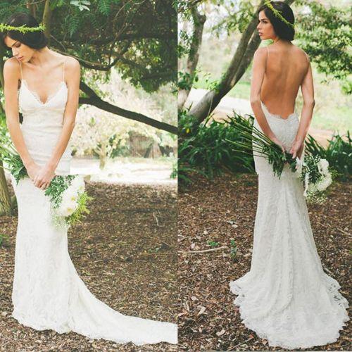 Robe de mariée pas chère en dentelle dos