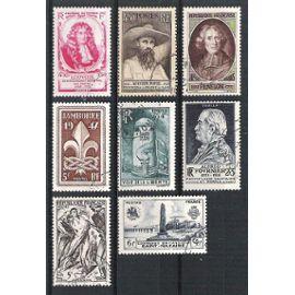 france, 1947, journée du timbre, auguste pavie, fénelon, débarquement britanique à saint-nazaire, jamboree, voie de la liberté, alfred fournier, résistance, N°779 & 784 à 790, neufs ou oblitérés.