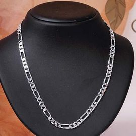 NEW CHAINE ARGENT maille FIGARO 50 cm Large 3,5 mm NEUF