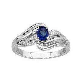 bague en argent avec une pierre bleu