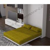 Armoire Lit Verticale Star Couchage 140x190 Cm Finition Blanc