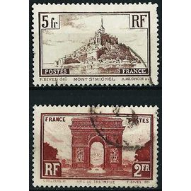 france 1929 / 31, joli lot yv. 258 & 260 - arc de triomphe de l