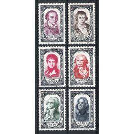 france, 1950, célébrités & personnages célèbres du 18ème siècle (révolution de 1789), n°867 à 872, oblitérés.