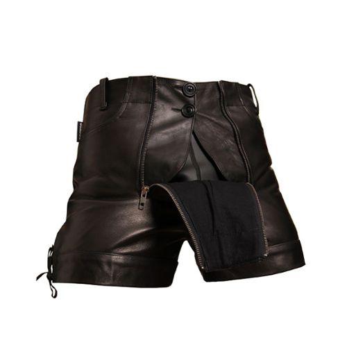 Pantalon Courts en Cuir Pantalon en Cuir pour Homme Short Bockle