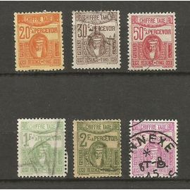"""Tunisie-Série de 6 timbres-taxe oblitérés,""""Déesse carthaginoise""""1923/1929-"""