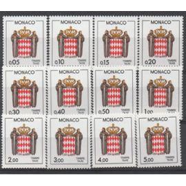 Monaco 1980: Série de 12 timbres taxe du N° 75 au N° 86.