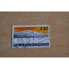 """Timbre France oblitéré 1989 - Pour le bien des aveugles """" Texte en braille """" Yvert et Tellier n°2562"""