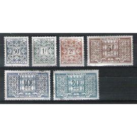 monaco, 1946-1957, timbres-taxe, n°31 à 33 + 36 à 38, oblitérés.