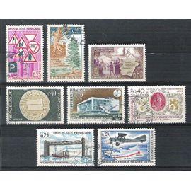 france, 1968, comptes postaux, prévention routière, royan, jumelage, enclave papale valréas, rattachement la flandre, pont de martrou, liaison postale, n°1542 + 1548 + 1554 + 1561 à 1565, oblitérés.
