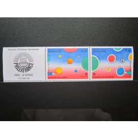 FRANCE. TIMBRES N° 2199 ET 2200. PAIRE ATTENANT AU LOGO N° 2200A (1982). PHILEXFRANCE 1982. EXPOSITION PHILATELIQUE INTERNATIONALE. DESSINS DE JEAN-MICHEL FOLON