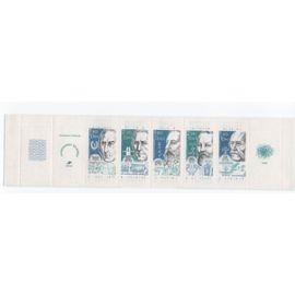 France 1986: Carnet N° BC2360 de 5 timbres à surtaxe, tros aves 1,80+0,40 et deux avec 2,20+0,50, timbres N° 2396 à 2400 représentant des personnages célèbres célèbres.