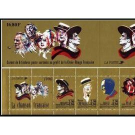france 1990, très bel exemplaire yv. 2655 - bande carnet grands noms de la chanson française comprenant les timbres n° 2649 2640 2651 2652 2653 2654, neuf** luxe