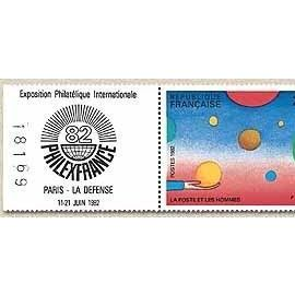 france 1982 - très beau bloc philexfrance 82 - timbres 2199 et 2200 - oeuvres de folon, + vignette de l