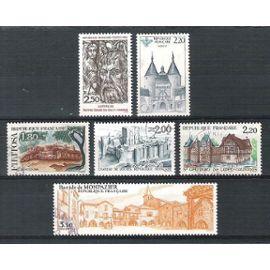 france, 1986, série touristique, nancy, n°2401 à 2405 + 2419, oblitérés.