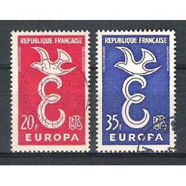 france, 1958, europa, n°1173 + 1174, oblitérés.
