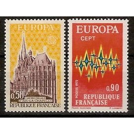 france 1972, très belle paire europa, yv. 1714 1715, neufs** luxe
