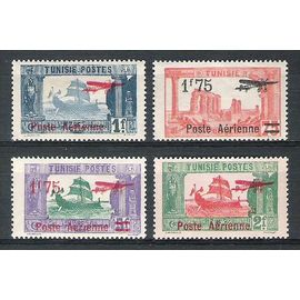 tunisie, 1927, poste aérienne, timbres-poste de 1923-1926 surchargés, n°3 à 6, neufs.