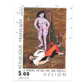 """Timbre oblitéré de 1984,n°2343.""""Le peintre piétiné par son modèle"""" de Jean Hélion."""