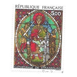 Timbre oblitéré de 1985,n°2363.Vitrail de la cathédrale de Strasbourg.