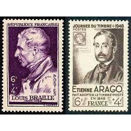 france 1948, très beaux exemplaire yv. 793 louis braille et 794 etienne arago - journée du timbre, neufs** luxe