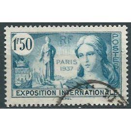 france 1937, bel exemplaire yv. 336, propagande pour l